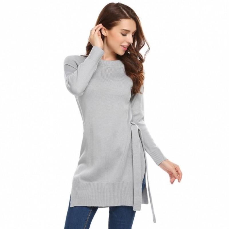 Solid Waist Bow Belt Split Hem Knit Long Sleeve Sweater