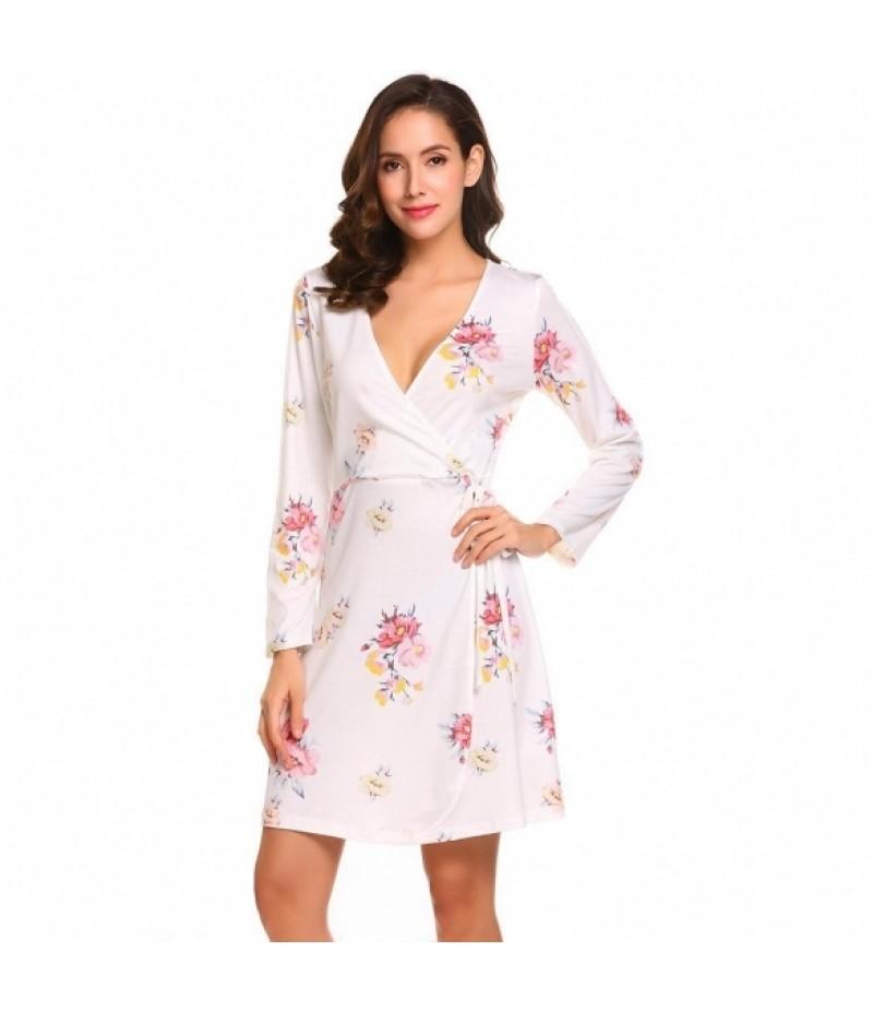 Women Surplice Wrap Split V Neck Long Sleeve Lace Up Floral Print A-Line Dress