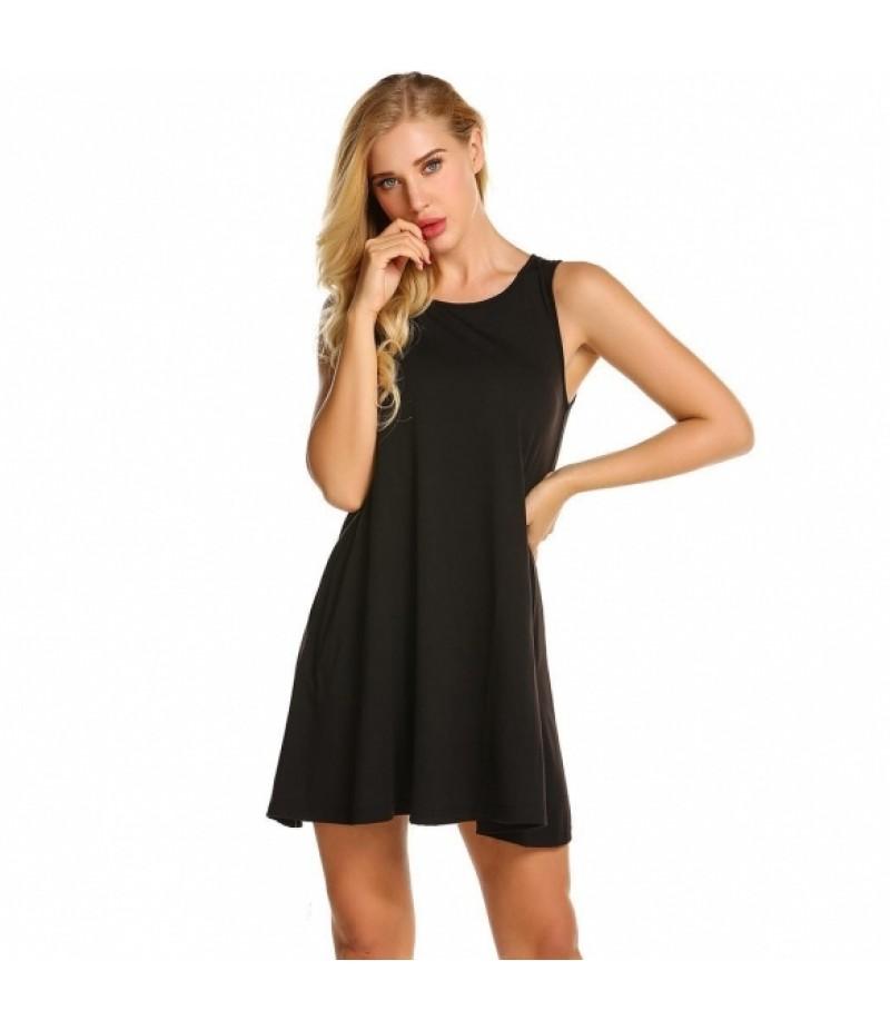 Women Sleeveless Side Pockets Casual Swing T-Shirt Dress