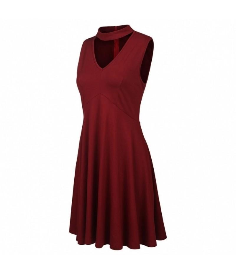 Women Chocker Deep V-Neck French Vintage Style Cotton Midi Tank Dress