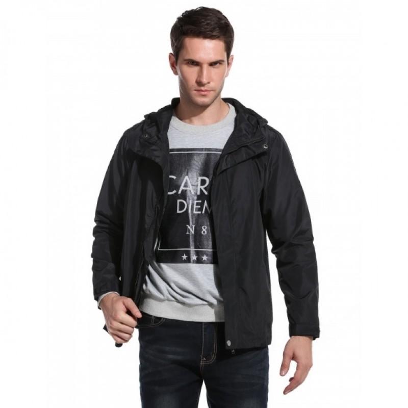 Men's Hooded Solid Zip Up Casual Outdoor Sport Lightweight Jacket