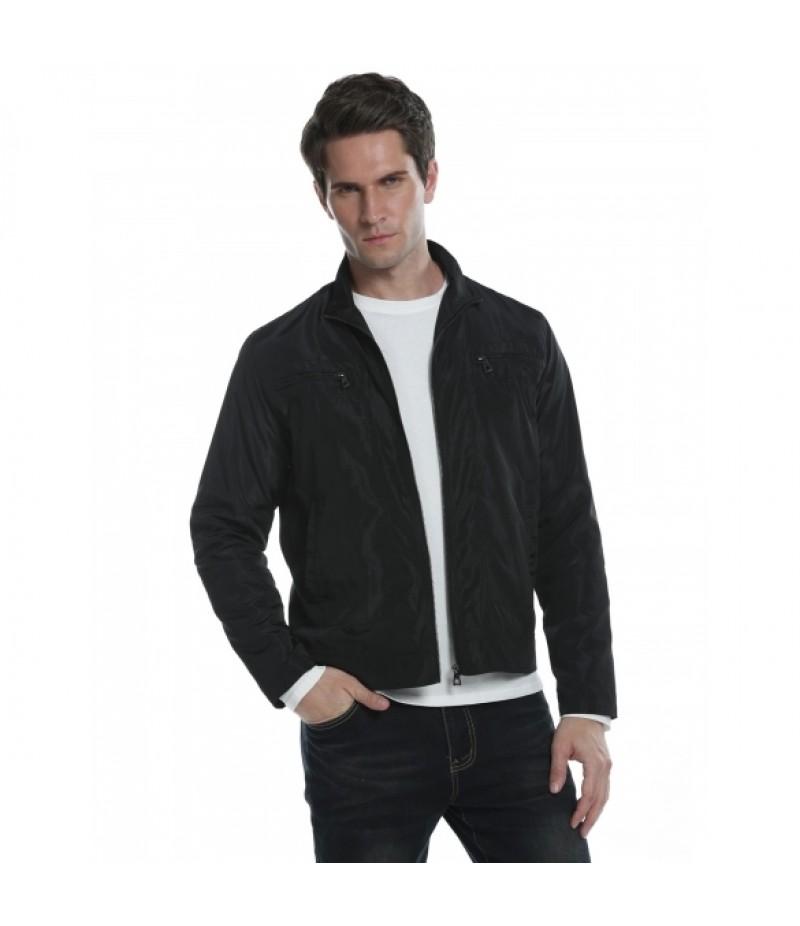 Men Casual Stand Neck Full Zip Solid Lightweight Golf Jacket