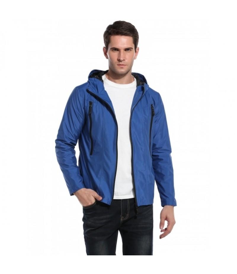 Men's Casual Hooded Solid Zip Up Outdoor Sport Lightweight Jacket