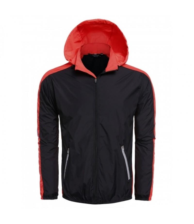 Men Outdoor Sports Hooded Long Sleeve Contrast Color Patchwork Zip-up Jacket
