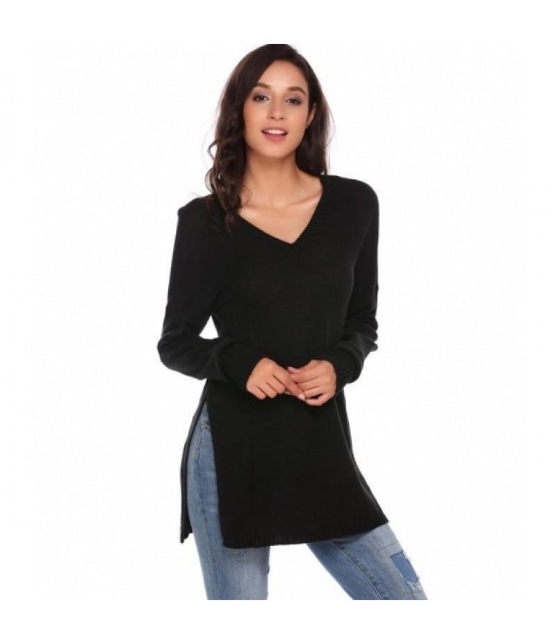 Long Sleeve V Neck Solid Split Loose Kint Pullover Sweaters