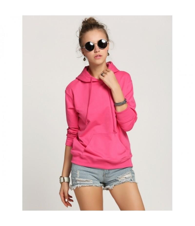 Zeagoo WomenCasual Hooded Long Sleeve Solid Pullover Hoodie