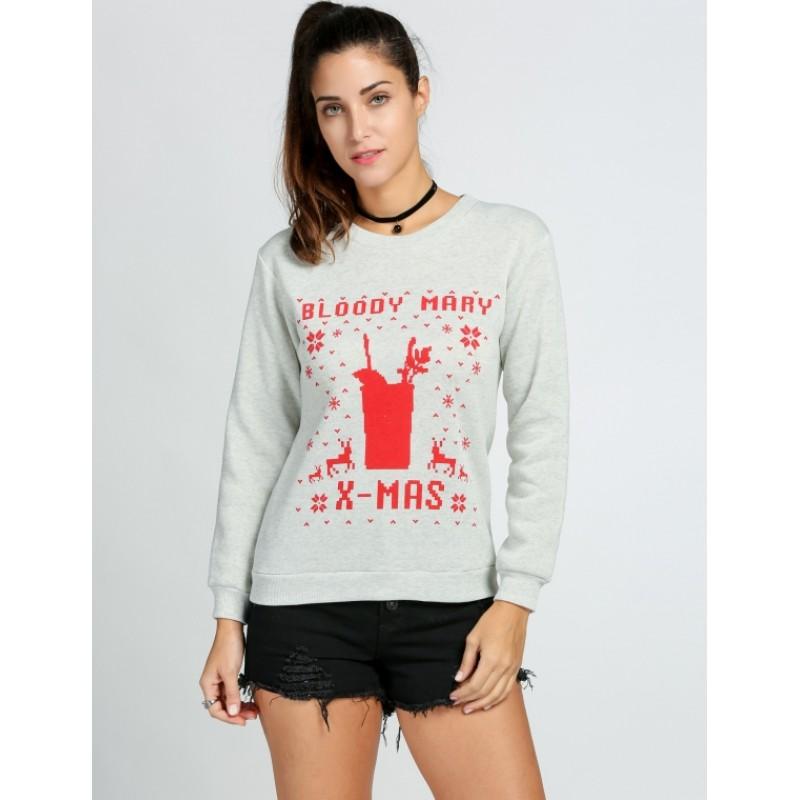 Women Casual O-Neck Long Sleeve Print Pullover Fleece Hoodie Sweatshirt