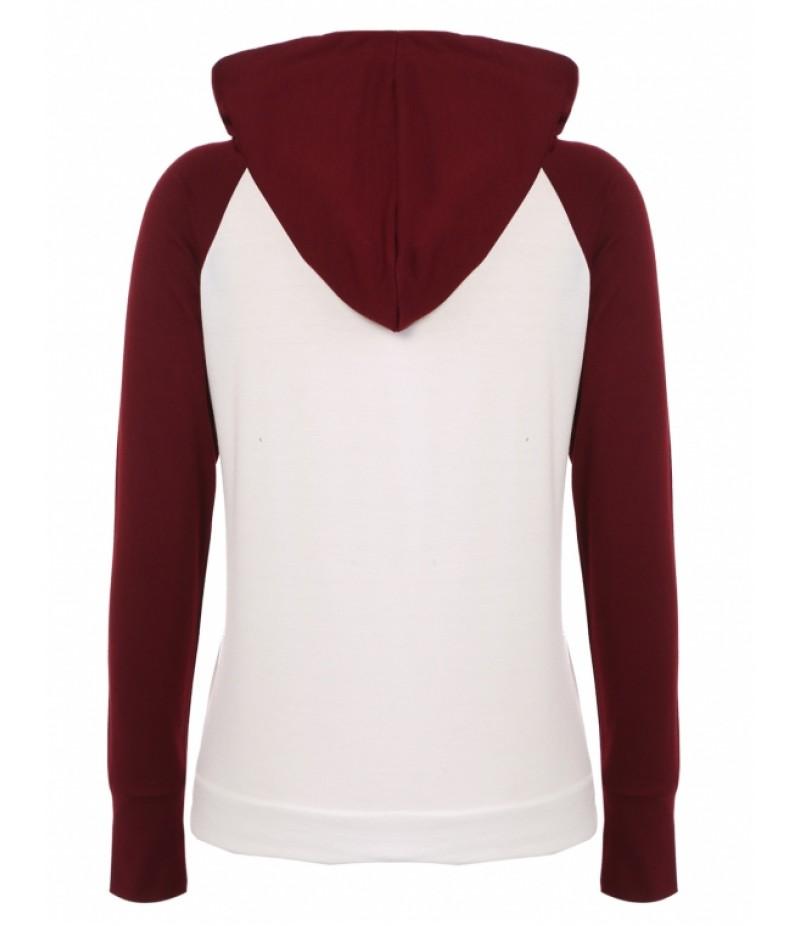 Fashion Women Hooded Raglan Sleeve Patchwork Pullover Casual Hoodie Sweatshirt