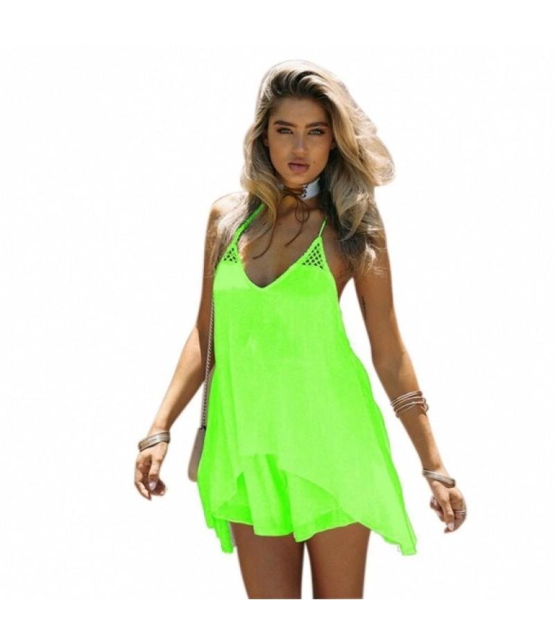 Women Summer Irregular Hem Halter Neck Spaghetti Strap Mini Dress
