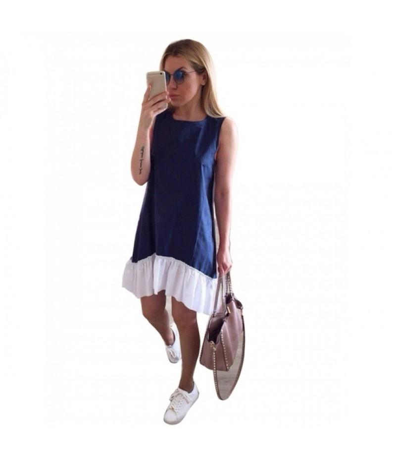 Womens Summer O-Neck Sleeveless Patchwork Ruffles Casual Loose Dress
