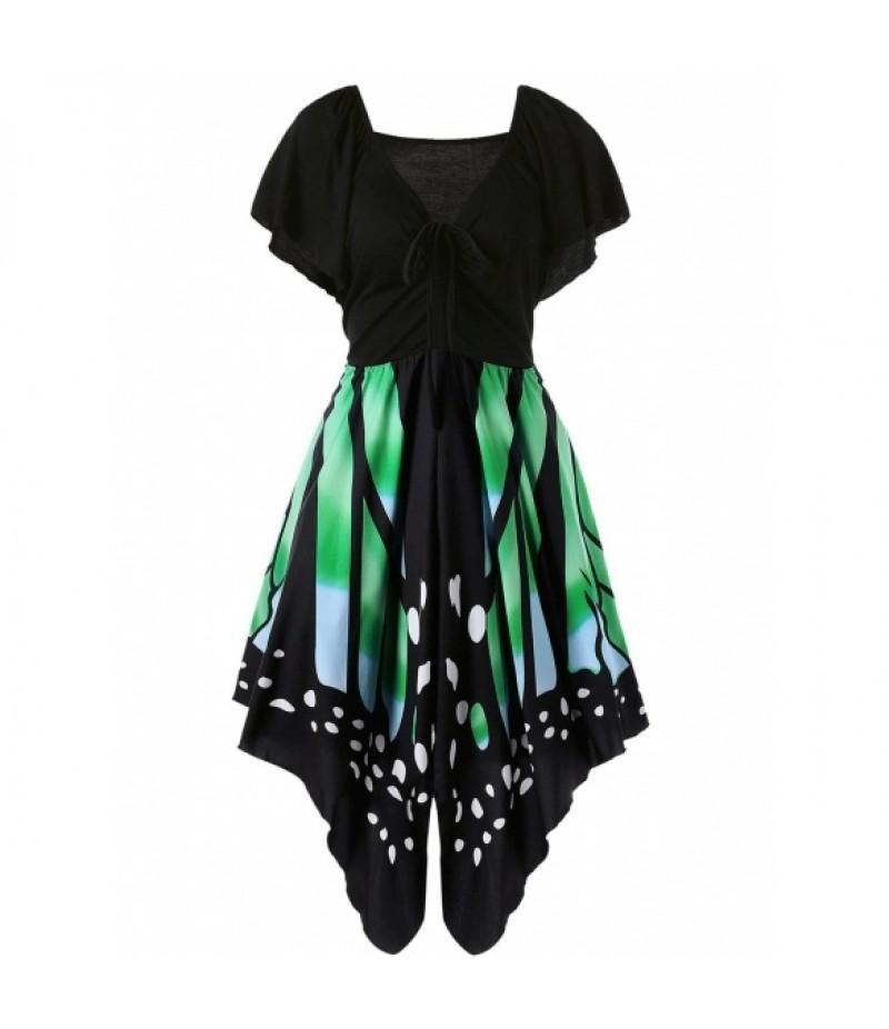 New WomenCharming Butterfly Shape V Neck Casual Short Sleeve Dress
