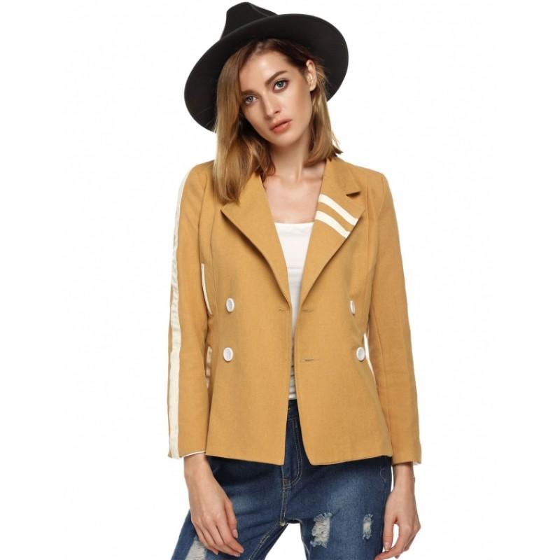 Stylish Women Casual Blazer Lapel Double Breasted Long Sleeve Patchwork Slim Coat Outwear