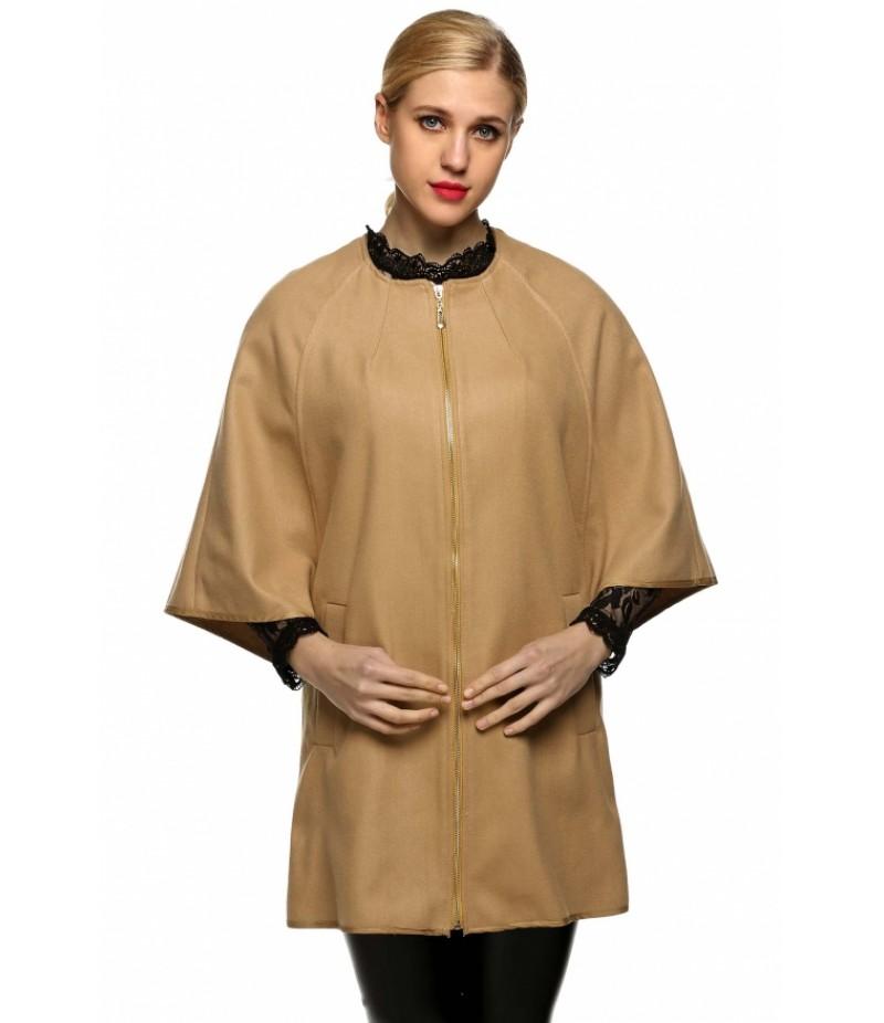 WomenWool Blend Round Neck 3/4 Batwing Sleeve Solid Zip Up Long Coat