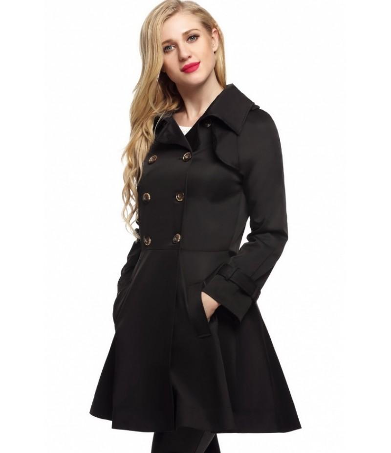 Women Casual Turndown Collar Long Sleeve Double-breasted Trench Windbreaker Outwear Jacket