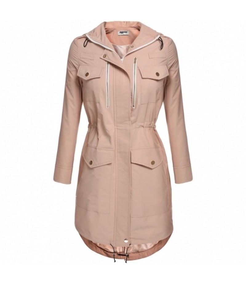 Zeagoo Women Hooded Drawstring Jacket Parka Coat Outerwear